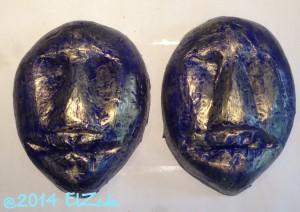 Deux masques bleus et dorés (état final)