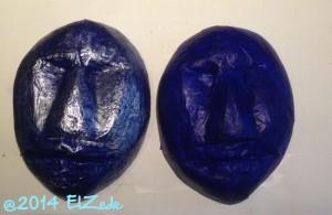 Deux masques bleus (travail en cours)