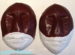 Deux masques mi-bruns (état en cours)